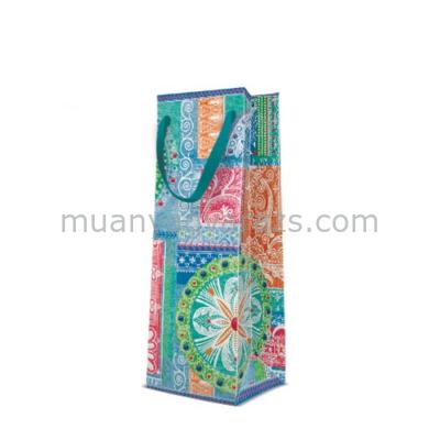 P.W.AGB1006604 Patchwork Jeans papír ajándéktáska italos 12x37x10cm