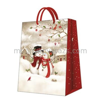 P.W.AGB021202 Snowy Family papír ajándéktáska big 30x41x12cm