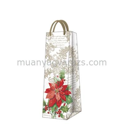 P.W.AGB023904 Stylish Poinsettia papír ajándéktáska italos 12x37x10cm