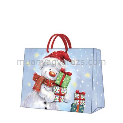 P.W.AGB2000806 Funny Snowman papír ajándéktáska horizontal 33,5x26,5x13cm