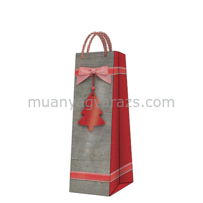 P.W.AGB2001104 Red Christmas Tree papír ajándéktáska italos