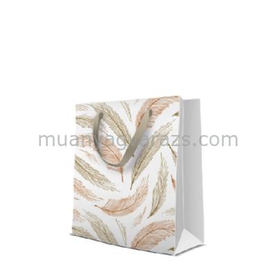 P.W.AGB1001803 Golden Feathers papír ajándéktáska medium  premium 20x25x10cm