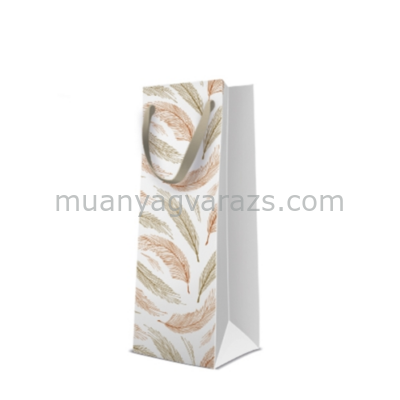 P.W.AGB1001804 Golden Feathers papír ajándéktáska italos premium 12x37x10cm