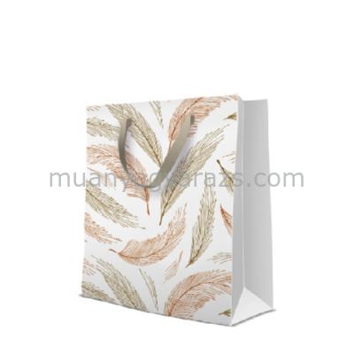 P.W.AGB1001805 Golden Feathers papír ajándéktáska large premium 26,5,33,5,13cm