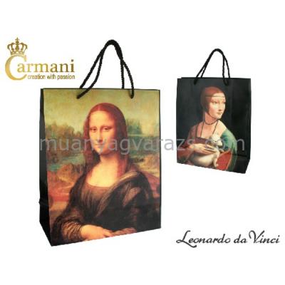H.C.032-0020 Ajándéktáska 32x26cm,Leonardo da Vinci