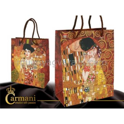 H.C.036-1501 Ajándéktáska papír álló Klimt: The Kiss, Adele 25x20x10cm
