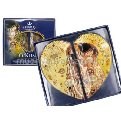 H.C.198-7003 Üvegtányér szett szív, 2részes, 30x16cm, Klimt: The Kiss