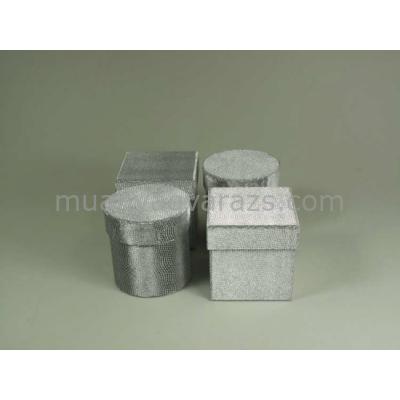G.A.T.BSJ2960S1 Ezüst kartondoboz szett S/4 kerek-négyzetes,7,5x7,5x7,5cm
