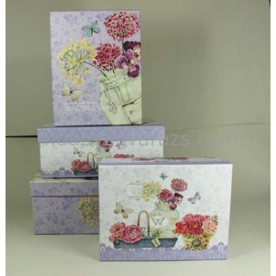 G.A.T.SRT02 Kartondoboz szett S/4,virágos-pillangós,lila,29x24x12-23x18x9cm