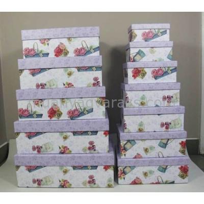 G.A.T.SRT04 Kartondoboz szett S/12,virágos-pillangós,lila,49x38x17-19x12x9cm