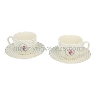 D.G.FOS-2EXP-GL11604 Porcelán kávéscsésze+alj,2 személyes dobozban,120ml,,Szürke pöttyös-rózsás