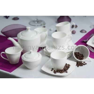 D.G.12814-BETA Porcelán teás szett 15db-os, 6 személyes, 900ml + 200ml, Beta