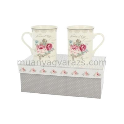 D.G.13286 Porcelán bögreszett 2db-os,rózsás,dobozban,300ml,Pretty