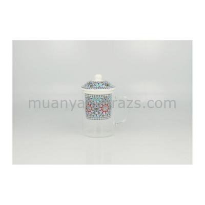 D.G.14818-MAROKKO Üveg teásbögre porcelán szűrővel és tetővel, 450ml, Marokko