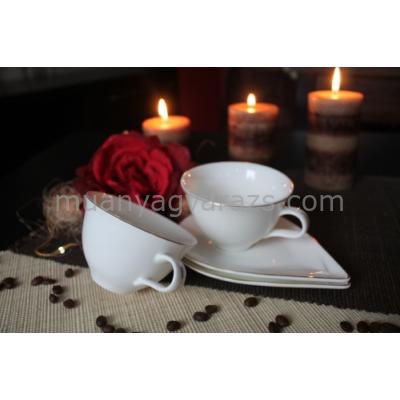 D.G.Y2-2FS220-PAROS Porcelán csésze+alj,2 személyes dobozban,220ml,Paros