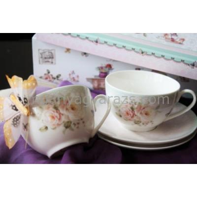 D.G.17727-BAROK  Porcelán teáscsésze+alj 200ml, 2 személyes dobozban, Barok