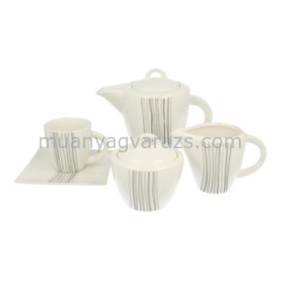 D.G.08220-SILVER LINE Porcelán teás szett 15db-os, 6 személyes, 1000ml+ 185ml, Silver Line