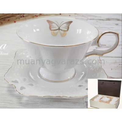 V.B.13651 Dona porcelán csésze+alj 210 ml,6 személyes,dobozban