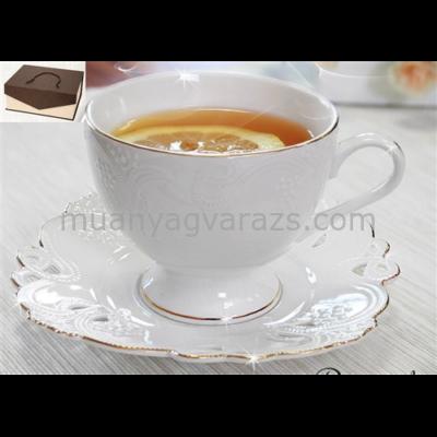 V.B.13668 Dominika porcelán csésze+alj 220ml,2 személyes, dobozban