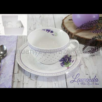 V.B.13781 Lawenda porcelán csésze+alj 250ml,2 személyes, dobozban