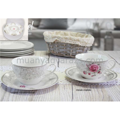 V.B.13811 Manuel porcelán csésze+alj 250ml,6 személyes, dobozban