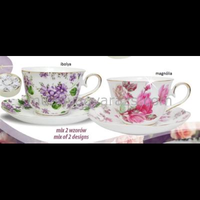V.B.13910 Ines porcelán csésze+alj 270ml,6 személyes, ibolya-magnólia
