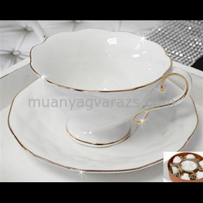 V.B.13965 Sofi porcelán csésze+alj 200ml,6 személyes, dobozban