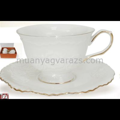 V.B.13996 Rosa porcelán csésze+alj 250ml,2 személyes, dobozban