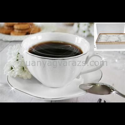 V.B.15525 Alis porcelán csésze+alj 220ml,6 személyes, dobozban