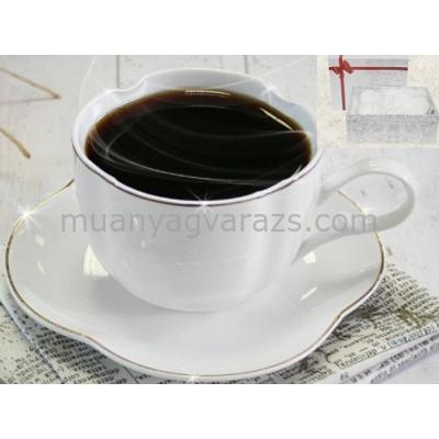 V.B.09807 Cyntia porcelán csésze+alj,220ml,2 személyes,dobozban
