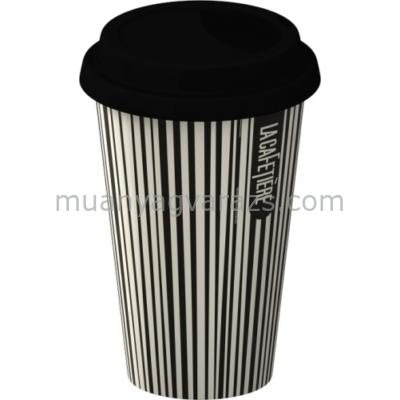 C.T.5153229 Duplafalú porcelán utazó pohár szilikon fedővel,Black Stripes