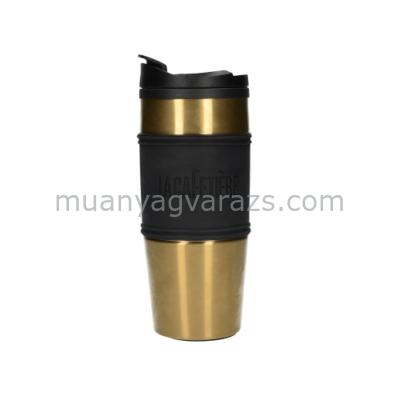 C.T.5207773 Duplafalú utiflaska műanyagbelső, rozsdamentes külső szilikon fogóval,450ml arany, La Cafetiére