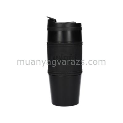 C.T.5207766 Duplafalú utiflaska műanyagbelső, rozsdamentes külső szilikon fogóval,450ml fekete, La Cafetiére
