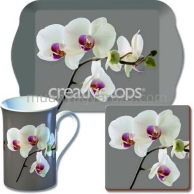 C.T.5140461 Time for Tea szett (tálca,bögre,parafa poháralátét), Orchid Harmony