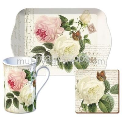 C.T.5138324 Time for Tea szett (tálca,bögre 235ml,parafa poháralátét),Rose Garden