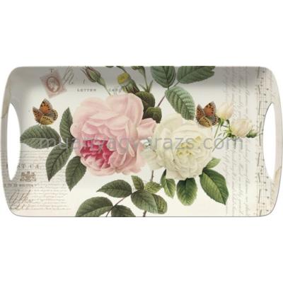 C.T.5138323 Műanyag szendvicstálca 385x200mm,Rose Garden
