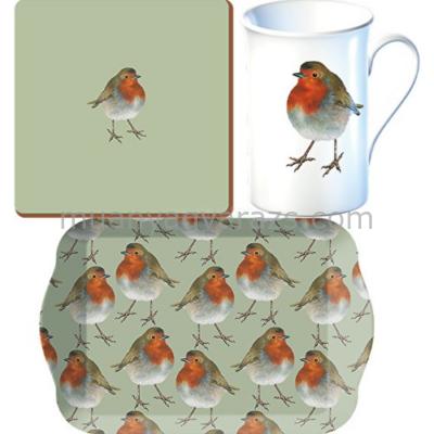 C.T.5164494 Time for Tee  szett(tálca,bögre235ml,parafa poháralátét),Wild Robin