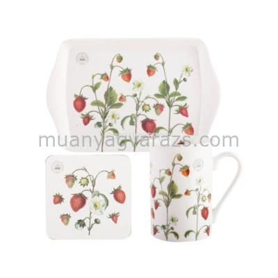 C.T.5174671 Time for Tea szett (tálca,bögre (350ml),parafa poháralátét),Strawberry Fayre