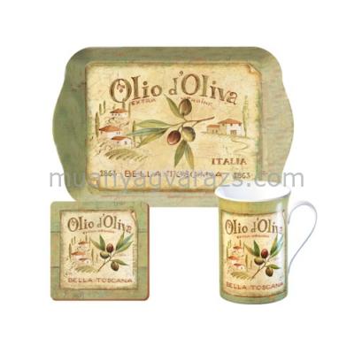 C.T.5174704 Time for Tea szett(tálca,bögre 235ml,parafa poháralátét),Olio d'Oliva