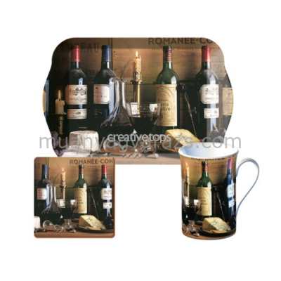 C.T.5174705 Time for tea szett (tálca,bögre 235ml,parafa poháralátét),Vintage Wine