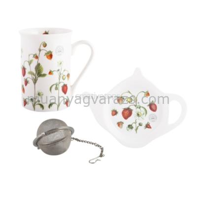 C.T.5174883 Teás szett porcelán bögrével (350ml),teatojással,teafiltertartóval,Strawberry Fayre