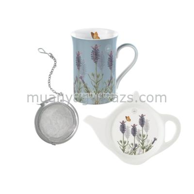 C.T.5175190 Teás szett porcelán bögrével (235ml),teatojással,teafilter tartóval,Lavender