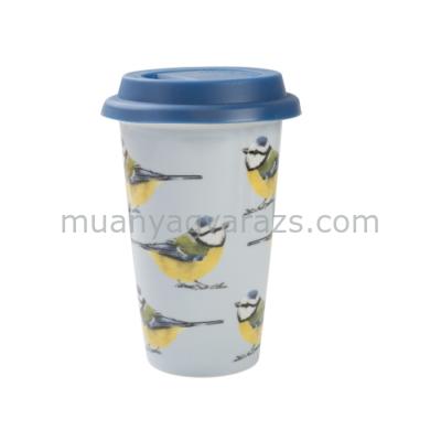 C.T.5187245 Porcelán duplafalú utazó pohár szilikon fedővel 350ml,Blue Tit