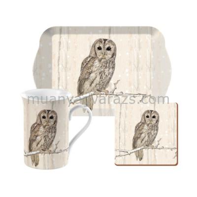 C.T.5187252 Time for Tea szett (tálca,bögre 350ml,parafa poháralátét)Tawny Owl