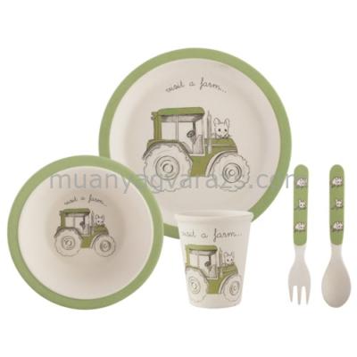 C.T.5178967 Műanyag étkezős babaszett:tányér 210mm,tál 163mm,pohár 90x77mm,kanál,villa,zöld,Visit a Farm