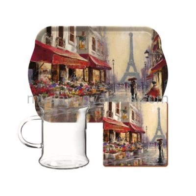 C.T.5189654 Műanyag kistálca üvegpohárral ,250ml,parafa poháralátéttel,paris Scene