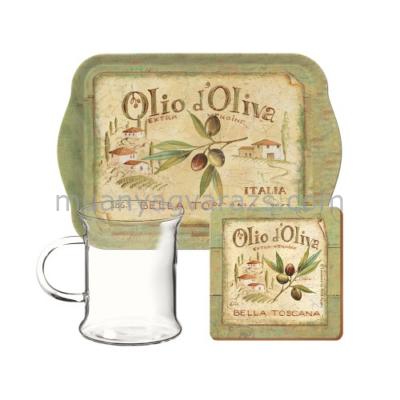 C.T.5189656 Műanyag kistálca üvegpohárral,250ml,parafa poháralátét,Olio d'Oliva