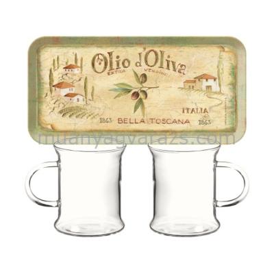C.T.5189661 Műanyag szendvicstálca 2db üvegpohárral,250ml,Olio d'Oliva