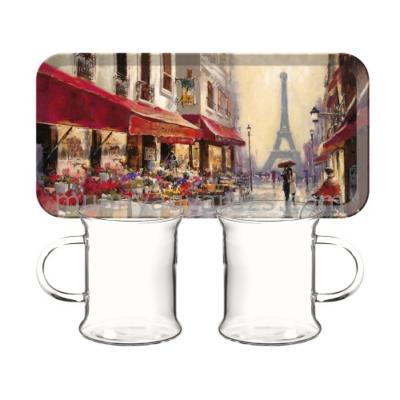C.T.5189659 Műanyag szendvicstálca 2db üvegpohárral,250ml,Paris Scene