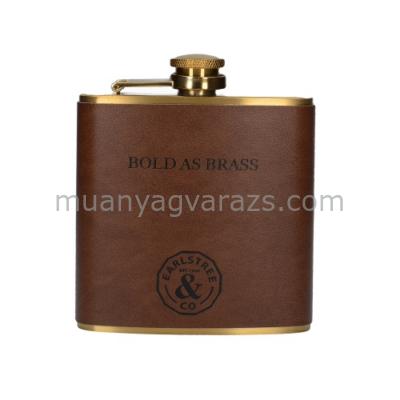 C.T.5213726 Lapos flaska,rozsdamentes acél műbőr borítással,95x118x22mm, Earlstree & Co